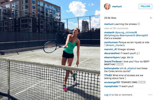 Martha Hunt played tennis. (Photo: Instagram/Martha Hunt)