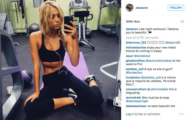 Alexis Ren at the gym. (Photo: Instagram/Alexis Ren)