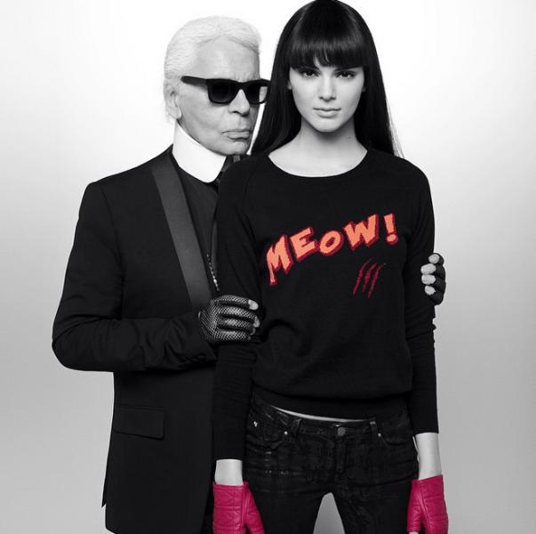 Karl Lagerfeld professed his love for Kendall Jenner on his Instagram account. Photo: Instagram/Karl Lagerfeld)