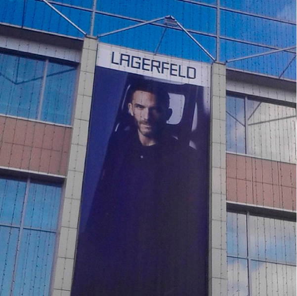 Sebastien Jondeau snapped this photo of his own face on a huge Russian Lagerfeld ad. Photo: Instagram/Sebastien Jondeau)