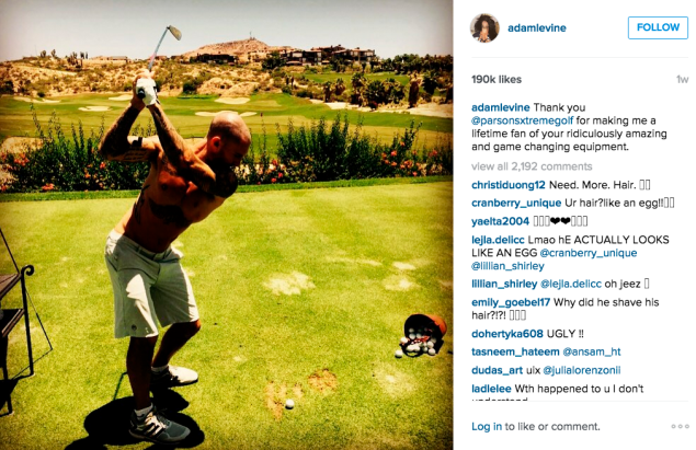 Adam Levine hit the golf course. (Photo: Instagram/Adam Levine)