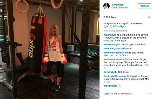 Nicky Rothschild worked out with a punching bag. (Photo: Instagram/Nicky Rothschild)