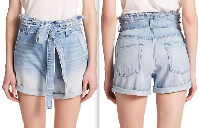 7 For All Mankind Paperbag-Waist Denim Shorts, $178