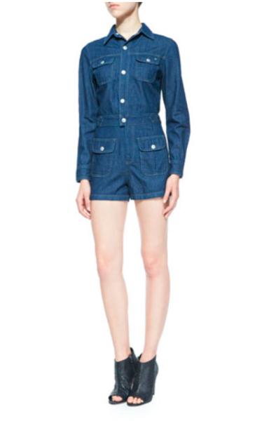 Alexa Chung for AG Loretta Long-Sleeve Denim Jumpsuit, Hardy, $345