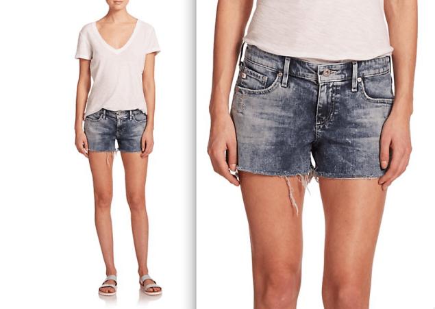 AG Bonnie Acid-Wash Cut-Off Denim Shorts, $168