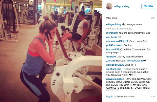 Ellie Goulding did kettlebell exercises. (Photo: Instagram/Ellie Goulding)