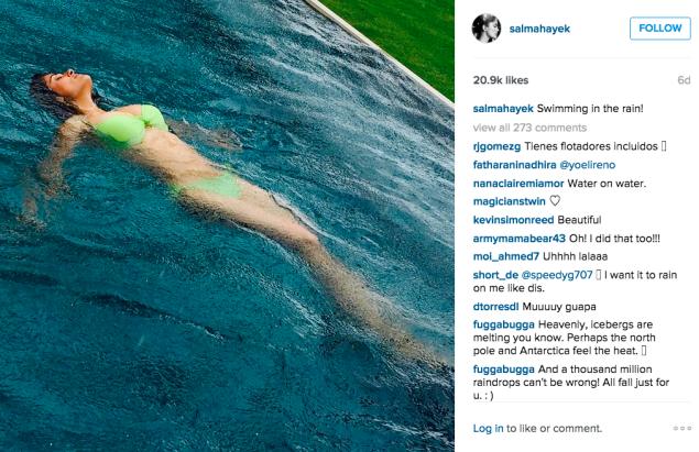 Salma Hayek Pinault went for a rainy swim. (Photo: Instagram/Salma Hayek Pinault)