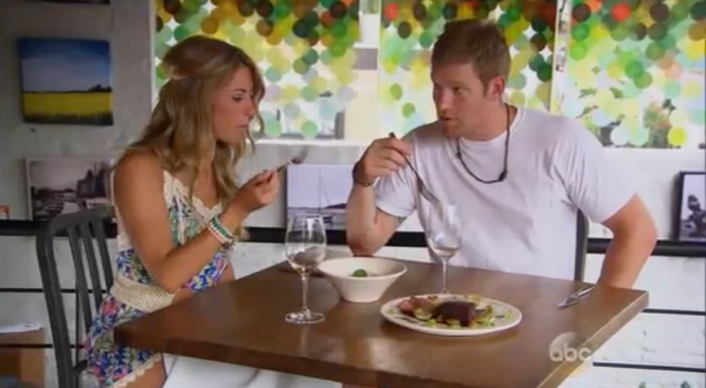 """""""it's weird how we're on a date and actually eating food"""" (Photo: ABC)"""