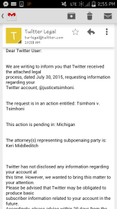 Twitter sent user @justicetsimhoni this notification that it had been subpoenaed.