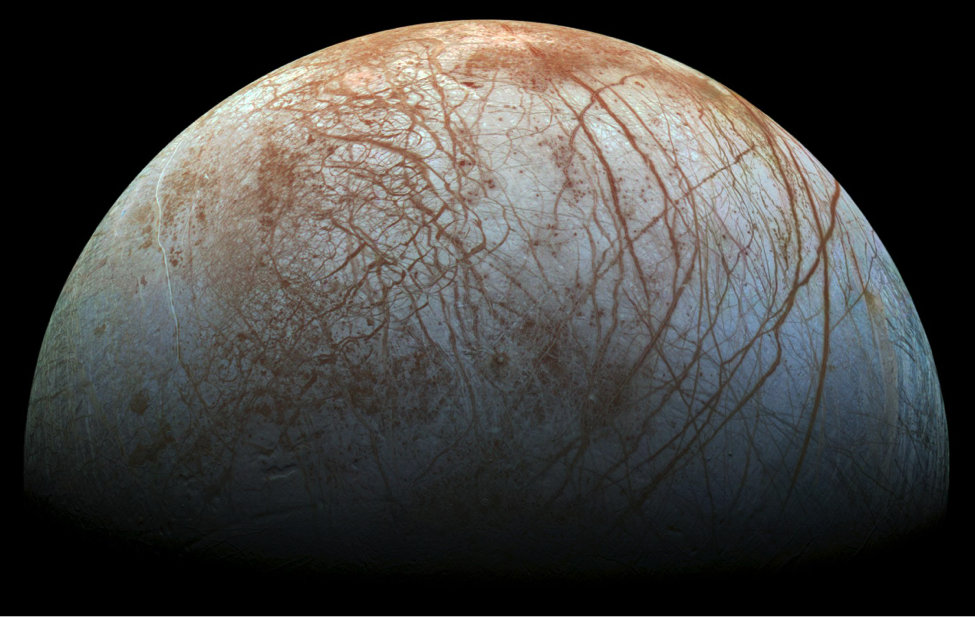 Composite photograph of Europa taken by the Galileo Spacecraft via NASA.