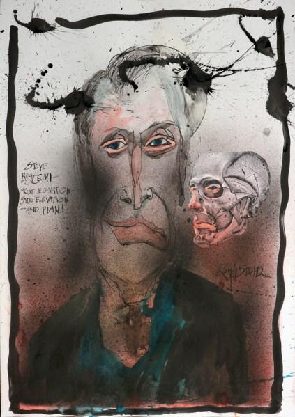 Illustration of Steve Buscemi by Ralph Steadman for Observer