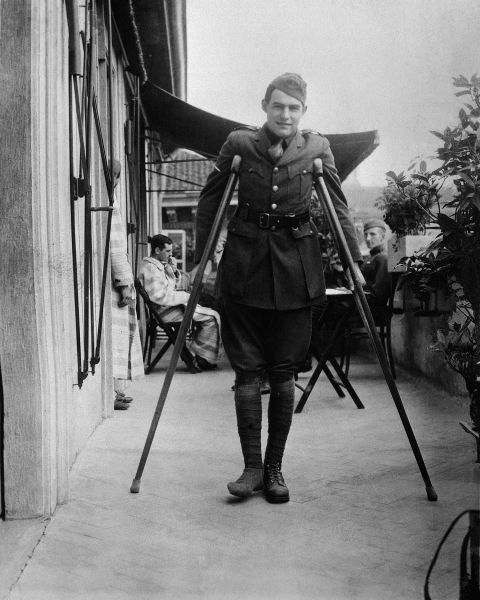 Ernest Hemingway on crutches in Milan in 1918. (Photograph courtesy the John F. Kennedy Presidential Library and Museum, Boston)