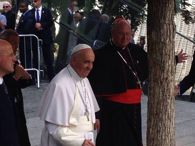 Pope Francis at the World Trade Center today (Photo: Will Bredderman).