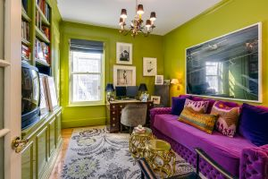 A jewel-toned den. (Stribling)