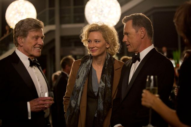 Robert Redford plays Dan Rather in Truth, featuring Cate Blanchett.