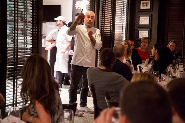 Chef Alex Atala, of D.O.M., center, talks to guests at Eataly's Fifth Birthday Bash. Photograph by Michael Nagle for Observer.