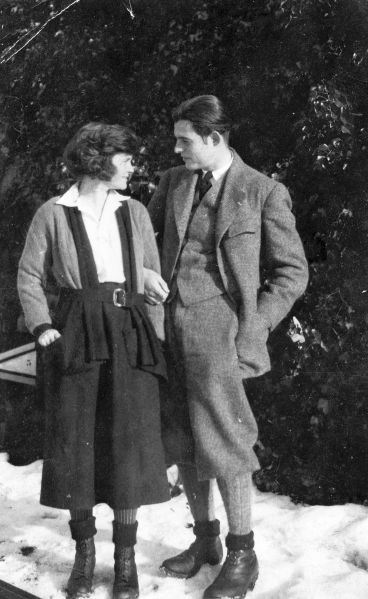 Hemingway with his first wife, Hadley Richardson, Chamby, Switzerland, in the winter of 1922. (Photograph courtesy of the John F. Kennedy Presidential Library and Museum, Boston)