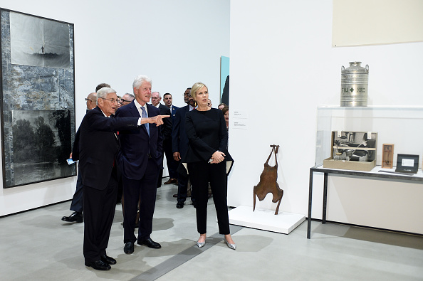Eli Broad, Bill Clinton and Joanne Heyler attend The Broad Museum Opening Celebration at The Broad on September 18, 2015 in Los Angeles, California. (Photo by Stefanie Keenan/Getty Images)