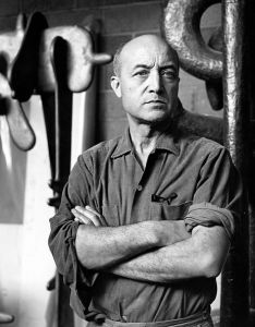Artist Isamu Noguchi photographed in 1966. (Photo by Jack Mitchell/Getty Images)