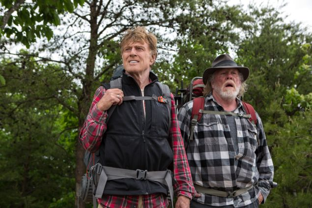 Robert Redford, left, and Nick Nolte as trail buddies in A Walk in the Woods.