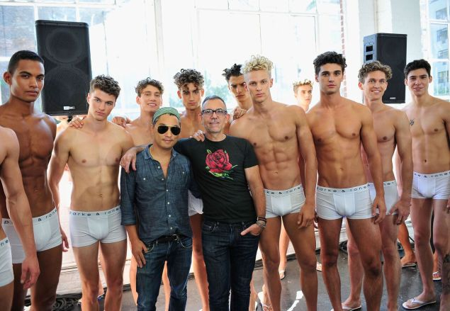 The designers with a squad of underwear-clad models (Photo: Parke & Ronen).
