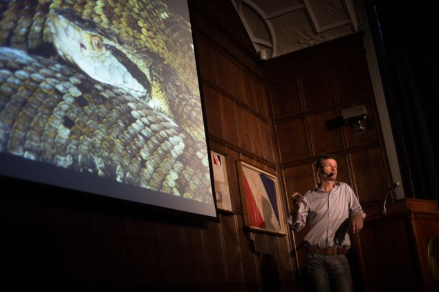 'Biomedical Indiana Jones' Zoltan Takacs shares snake tales at The Explorers Club. (Photo: Aaron Adler for Observer)