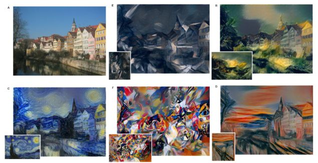 One image (top left) turned into five different masterwork styles, b. JMW Turner, c. Vincent van Gogh, d. Edvard Munch, e. Pablo Picasso, f. Vassily Kandinsky. (Photo: Courtesy of Werner Reichardt Centre for Integrative Neuroscience and Institute of Theoretical Physics and the University of Tu ̈bingen, Germany)