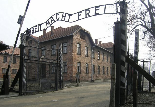 The entrance to the Auschwitz concentration camp.