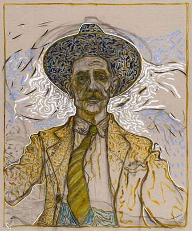 Billy Childish, self portrait with tie, 2015. (Photo: Courtesy of Lehmann Maupin Gallery)