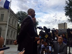 Tennis player James Blake speaks to the press outside City Hall. (Photo: Jillian Jorgensen for Observer)
