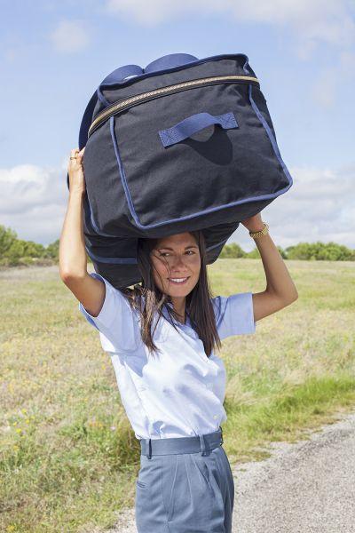Jeanne Signoles creates functional canvas bags. (Photo courtesy of L/Uniform)