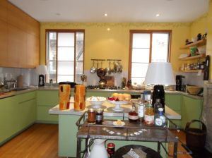 The kitchen of a Greenwich Village townhouse before SBSG Design staged it.