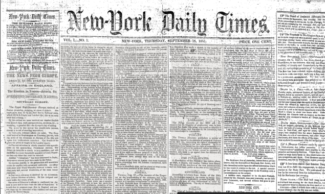 The front page of the New-York Daily Times on Spet. 18, 1851. (Photo: Screenshot)