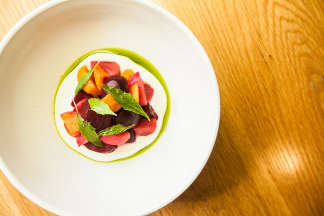 Beets with charred corn garlic scape and farmers cheese. (Photo: Emily Assiran/For Observer)