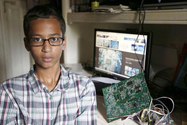 Ahmed Mohamed was arrested on Monday for bringing a homemade clock to school that his teacher thought was a bomb. (Photo: Twitter)