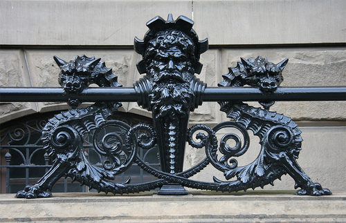 The decorative ironwork on the dry moat. (ScoutingNY)