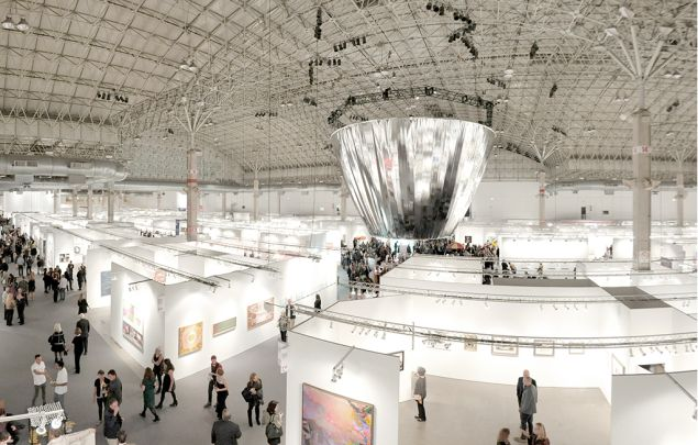 The floor of Expo Chicago 2014, designed by Studio Gang Architects and including the suspended installation Frustrum.