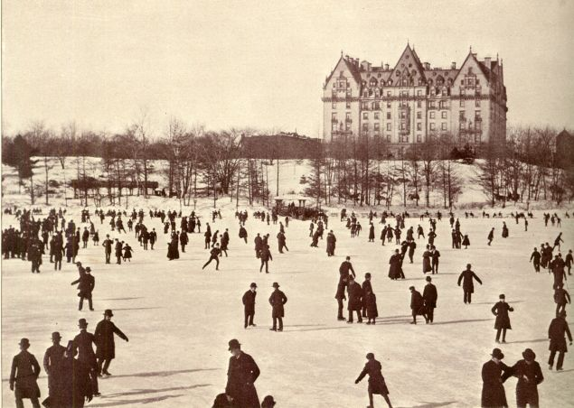 Skaters in Central Park shortly after the Dakota was built. It's always been a standout.