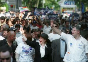 371546 03: U.S. Senate candidate and First Lady Hillary Rodham Clinton, in black, waves to the crowd during the annual Gay Pride parade June 25, 2000 in New York City. (Photo by Chris Hondros/Newsmakers)