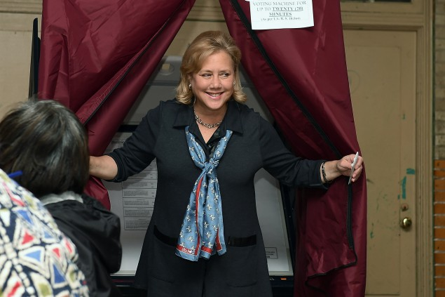 NEW ORLEANS, LA - NOVEMBER 04: U.S. Sen. Mary Landrieu (D-LA) exits the voting booth on November 4, 2014 in New Orleans, Louisiana. Landrieu is in a tight race against two republicans, U.S. Rep. Bill Cassidy (R-LA) and retired Air Force Colonel Rob Maness. (Photo by Stacy Revere/Getty Images)