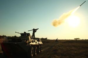 A Russian soldier fires a portable air defense rocket Photo: SERGEI VENYAVSKY/AFP/Getty Images