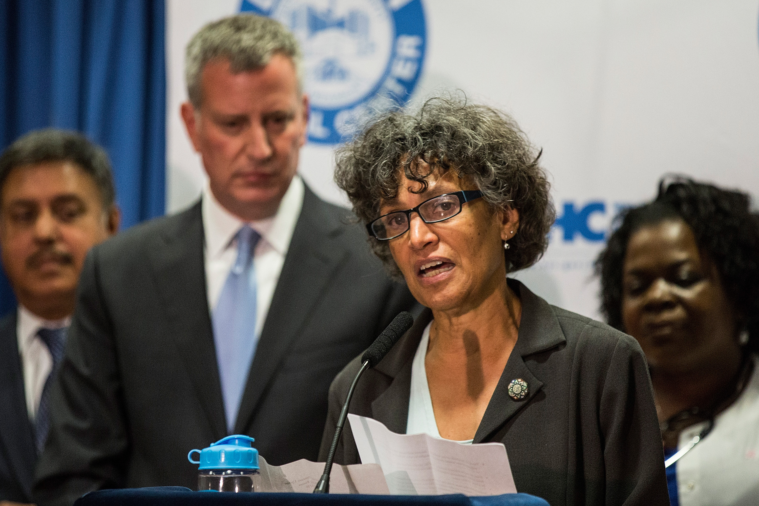 New York City Mayor Bill de Blasio and Dr. Mary Bassett, Commissioner of the New York City Department of Health (Photo by Andrew Burton/Getty Images)