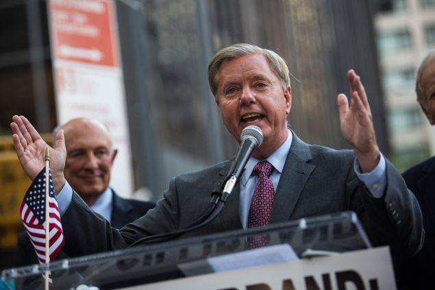 South Carolina Sen. Lindsey Graham tonight. (Photo: Andrew Burton/Getty Images)