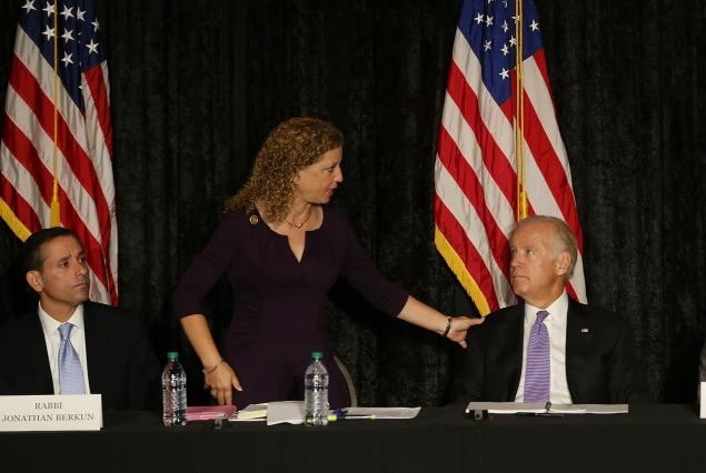 DAVIE, FL - SEPTEMBER 03: Rep. Debbie Wasserman Shultz (D-FL) speaks with U.S. Vice President Joe Biden at the David Posnack Jewish Community Center to discuss the nuclear deal reached with Iran on September 3, 2015 in Davie, Florida. President Barack Obama on Wednesday secured enough votes to put the agreement in place. (Photo by Joe Raedle/Getty Images)