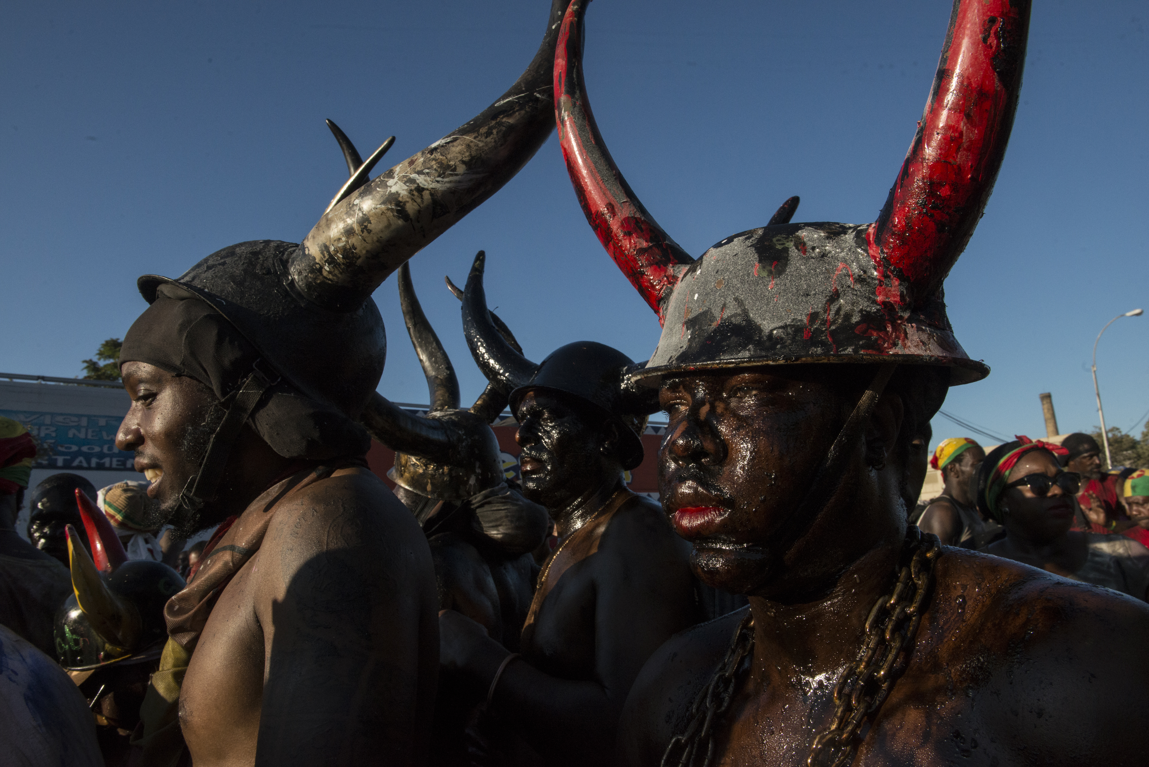 Revelers participate in Jouvert .(Photo by Stephanie Keith/Getty Images)