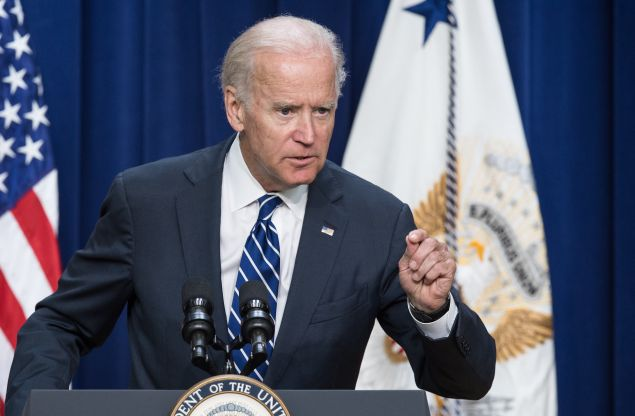 US Vice President Joe Biden addresses the Apprenticeship Summit at the White House in Washington, DC, on September 8, 2015. AFP PHOTO/NICHOLAS KAMM (Photo credit should read NICHOLAS KAMM/AFP/Getty Images)