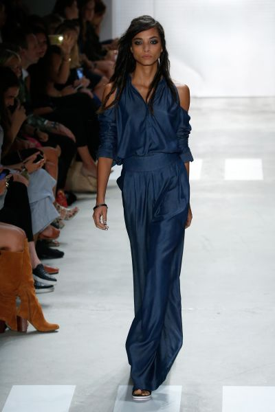 An all-in-one, sans shoulders, at Nicole Miller (Photo: Brian Ach/Getty Images for NYFW: The Shows).