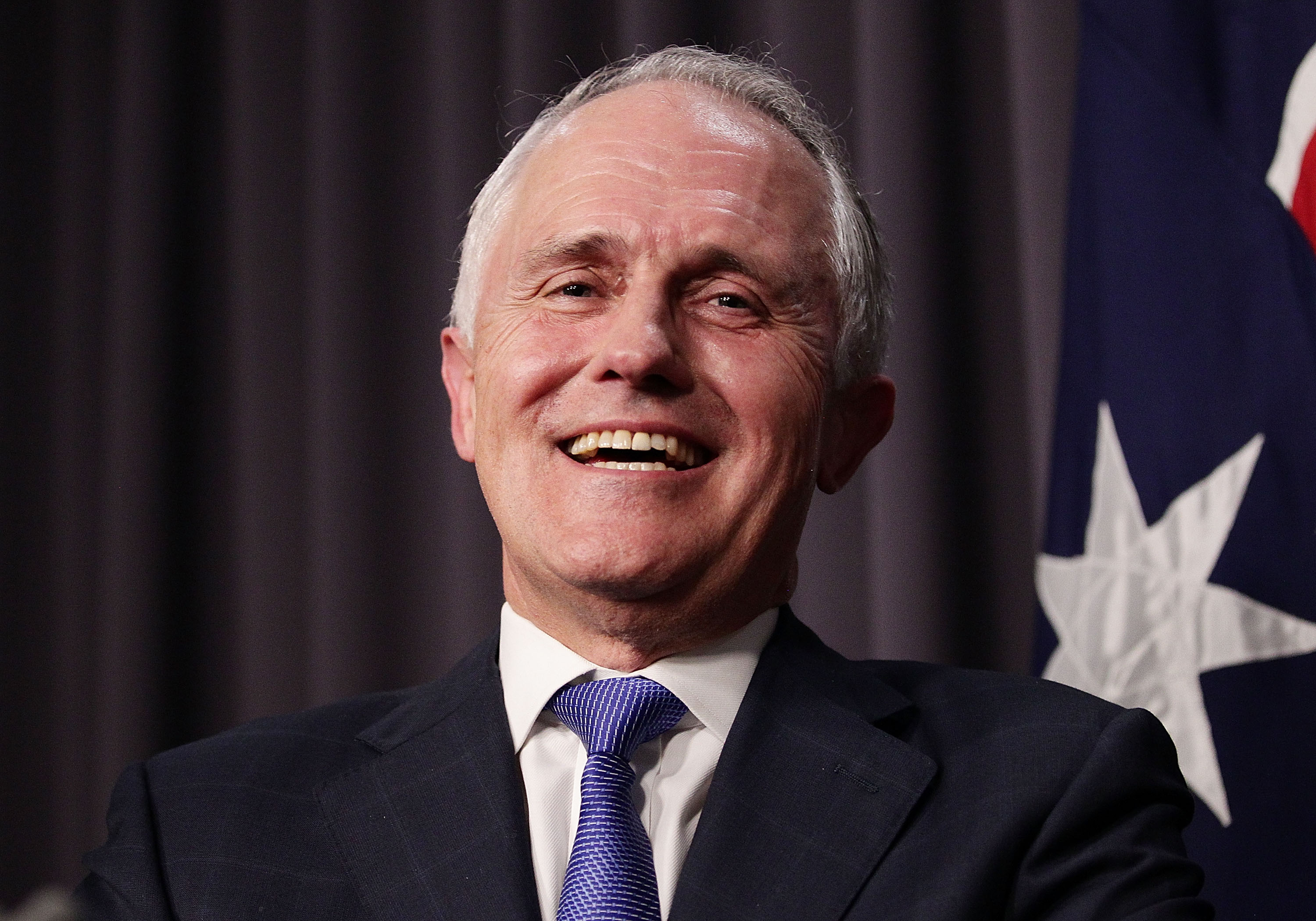 CANBERRA, AUSTRALIA - SEPTEMBER 14: Malcolm Turnbull speaks to the media after winning the leadership ballot at Parliament House on September 14, 2015 in Canberra, Australia. Malcolm Turnbull announced this morning he would be challenging Tony Abbott for the Liberal Party leadership. (Photo by Stefan Postles/Getty Images)