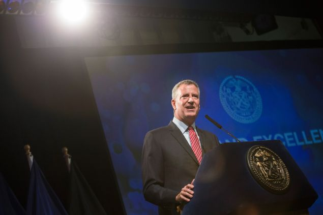 Mayor Bill de Blasio during a recent speech on education. (Photo: Andrew Burton/Getty Images)