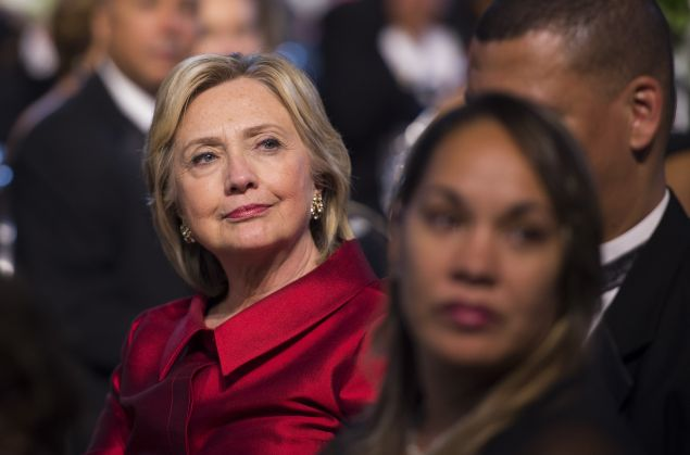 Democratic Presidential hopeful Hillary Clinton attends the Congressional Black Caucus (CBC) Foundation's 45th Annual Legislative Conference in Washington, DC, on September 19, 2015. AFP PHOTO/ JIM WATSON (Photo credit should read JIM WATSON/AFP/Getty Images)